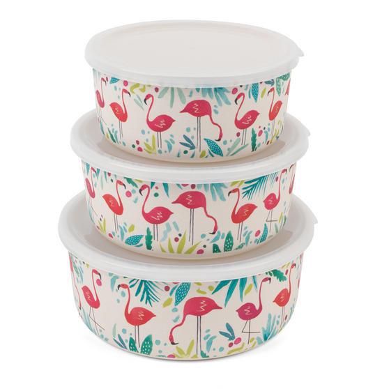 Cambridge CM06392 Eco Friendly Bamboo Meal Prep Boxes, Set of 3, Flamingo Print