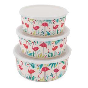 Cambridge CM06392 Eco Friendly Bamboo Meal Prep Boxes, Stackable, Reusable, Dishwasher Safe. Set of 3, Flamingo Print