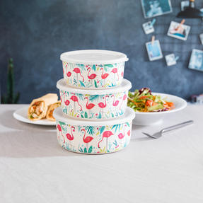 Cambridge CM06392 Reusable Lightweight Meal Prep Boxes, Stackable Food Containers, Set of 3, Flamingo Print | Dishwasher Safe | BPA Free | Alternative to Single Use Plastics Thumbnail 3