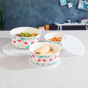 Cambridge CM06392 Reusable Lightweight Meal Prep Boxes, Stackable Food Containers, Set of 3, Flamingo Print | Dishwasher Safe | BPA Free | Alternative to Single Use Plastics Thumbnail 4