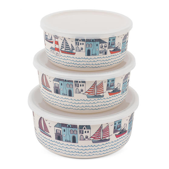 Cambridge CM06393 Reusable Lightweight Meal Prep Boxes, Stackable Food Containers, Set of 3, Plymouth Print | Dishwasher Safe | BPA Free | Alternative to Single Use Plastics