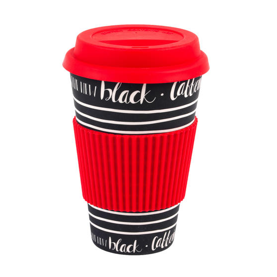 Cambridge CM05512 Caffeine Is the New Black Bamboo Eco Travel Mug, Set of 8