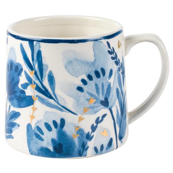 Portobello CM06053 Dana Gold Tank Mug, Blue and Gold, Set of 4