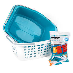 Beldray COMBO-3519 Plastic Laundry Baskets with Handles and 100 Grip Clothes Pegs, White / Turquoise