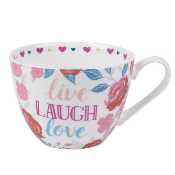 Portobello CM06017 Wilmslow Live Laugh Love Floral Mug, Set of 2