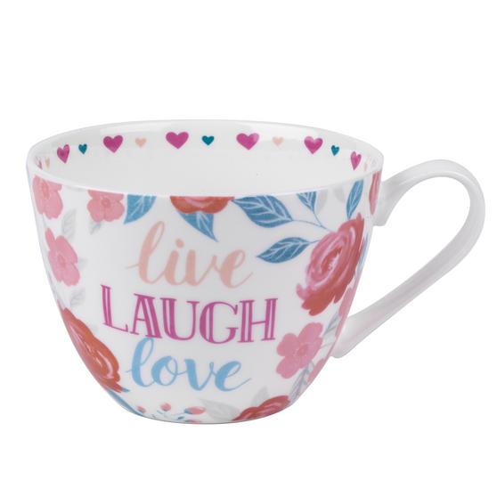 Portobello CM06017 Wilmslow Live Laugh Love Floral Mug, Set of 4