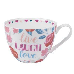 Portobello CM06017 Wilmslow Live Laugh Love Floral Mug, Set of 4 Thumbnail 1