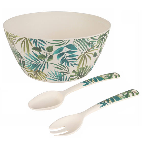 Cambridge Polynesia Bamboo Eco-Friendly Serving Bowl and Two Utensils