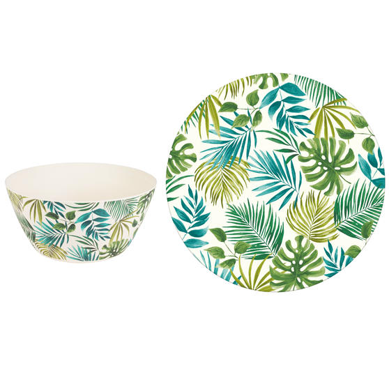 Cambridge Polynesia Bamboo Eco Friendly Plates and Bowls Tableware, 8 Piece