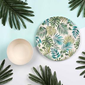 Cambridge COMBO-3674 Polynesia Bamboo Eco Friendly Plates and Bowls Tableware, 8 Piece Thumbnail 6