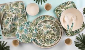 Cambridge COMBO-3674 Polynesia Bamboo Eco Friendly Plates and Bowls Tableware, 8 Piece Thumbnail 7