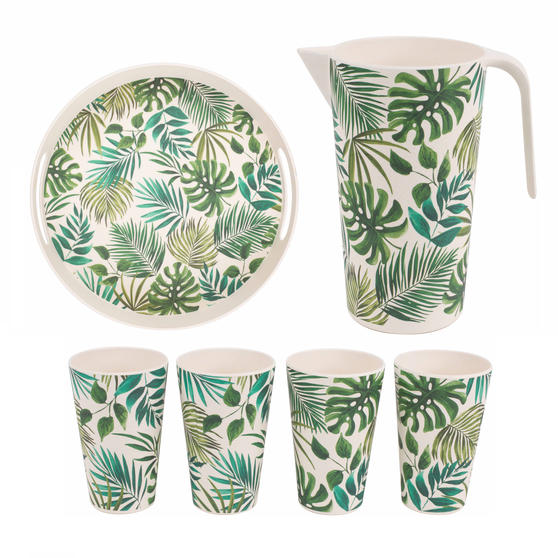Cambridge Polynesia Bamboo Eco Friendly Cups, Jug and Round Serving Tray - 6 Piece