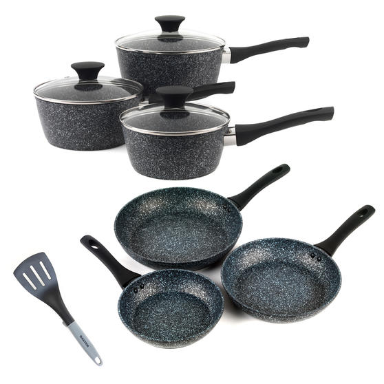 Salter COMBO-3689 Megastone Non-Stick Frying Pan and Saucepan Set with Nylon Slotted Spatula