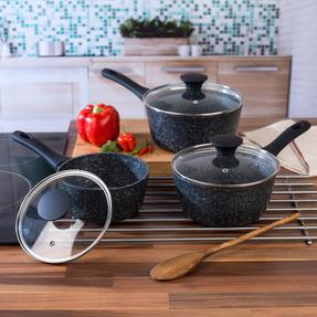 Salter COMBO-3689 Megastone Non-Stick Frying Pan and Saucepan Set, 6 Piece Thumbnail 3