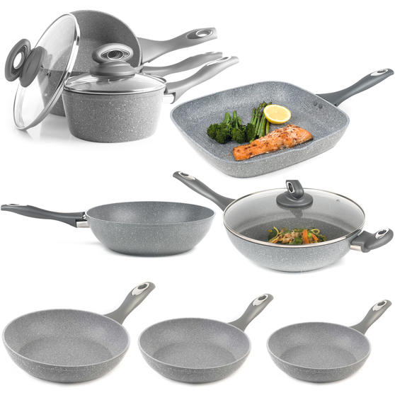 Salter COMBO-3693 Marble Collection Complete Non-Stick Cookware Set with Frying Pans, Saucepans, Stir Fry Pan, Griddle Pan and Wok, 8 Piece