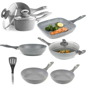 Salter COMBO-3693 Marble Collection Complete Non-Stick Cookware Set with Nylon Slotted Spatula Thumbnail 1