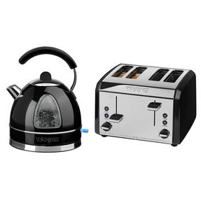 Waring COMBO-3580 Traditional 1.7 Litre Kettle with Four Slice Toaster, 3000 W / 2000 W, Black