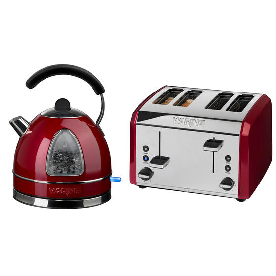 Waring COMBO-3581 Traditional 1.7 Litre Kettle with Four Slice Toaster, 3000 W / 2000 W, Red