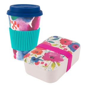 Cambridge COMBO-3758 Bamboo Eco Posy Lunch Box with Chroma 16 oz Bamboo Travel Mug