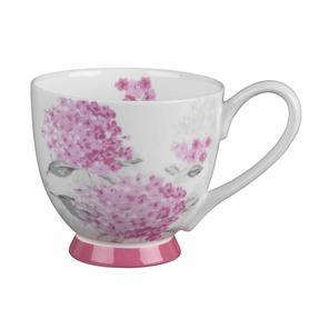 Portobello COMBO-3682 Four-Piece Ami Pink Small Footed Bowl and Mug Set, Bone China, White / Pink Thumbnail 2