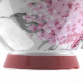 Portobello COMBO-3682 Four-Piece Ami Pink Small Footed Bowl and Mug Set, Bone China, White / Pink Thumbnail 4