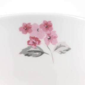 Portobello COMBO-3682 Four-Piece Ami Pink Small Footed Bowl and Mug Set, Bone China, White / Pink Thumbnail 8