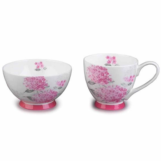 Portobello COMBO-3683 Eight-Piece Ami Pink Small Footed Bowl and Mug Set, Bone China, White / Pink