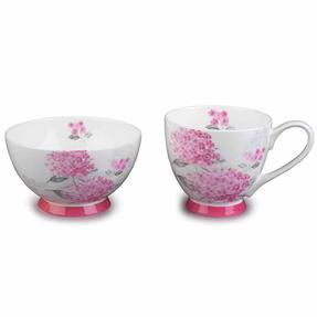 Portobello COMBO-3683 Eight-Piece Ami Pink Small Footed Bowl and Mug Set, Bone China, White / Pink Thumbnail 1
