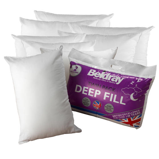 Beldray COMBO-3369 Deep Fill Pillow, Pack of 8, White