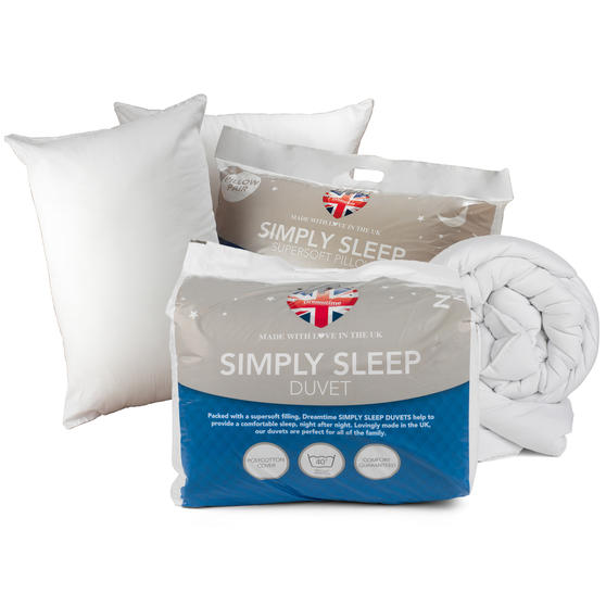 Dreamtime COMBO-3396 Simply Sleep  10.5 Tog Duvet and Twin Pack Pillows, Single, White