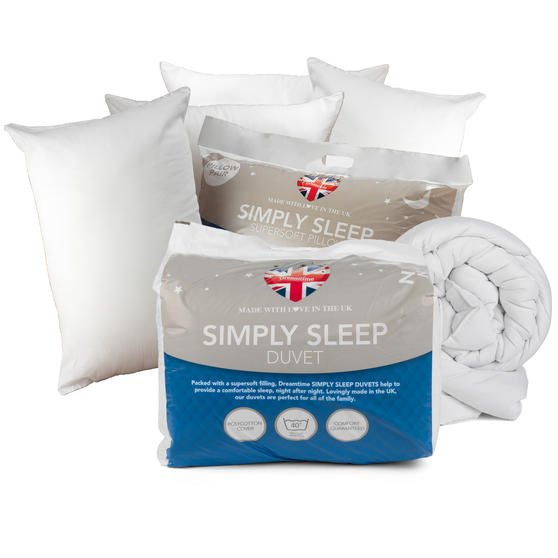 Dreamtime COMBO-3409 Simply Sleep 10.5 Tog Duvet with Four Pillows, King Size, White