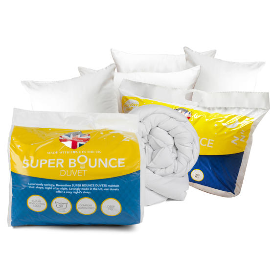 Dreamtime COMBO-3895 Super Bounce 13.5 Tog Duvet with Four Pillows, King Size, Polyester, White