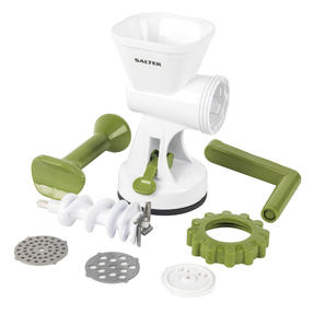 Salter BW06543AR Meat Mincer with Two Blade Attachments, White/Green Thumbnail 2