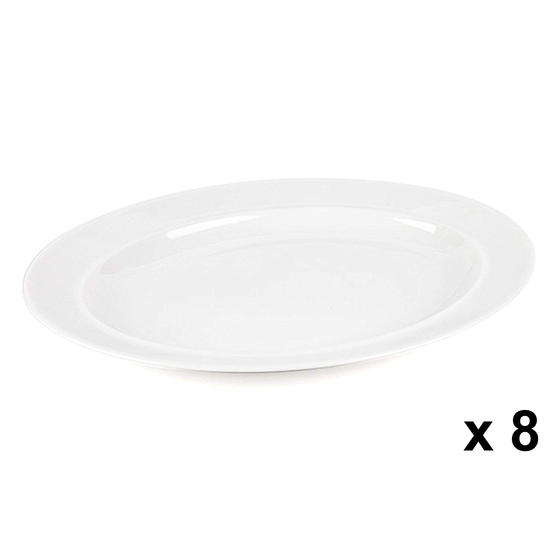 Alessi COMBO-3908 La Bella Tavola Porcelain Serving Platter, 36 cm, Set of 8
