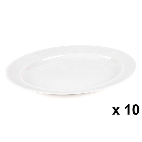 Alessi COMBO-3909 La Bella Tavola Porcelain Serving Platter, 36 cm, Set of 10