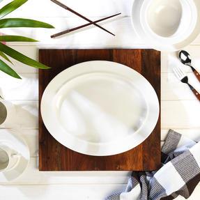 Alessi COMBO-3909 La Bella Tavola Large Porcelain Serving or Antipasti Platter, 36 cm, Off-White, Set of 10   Dishwasher Safe   For Domestic & Commercial Use Thumbnail 3