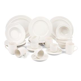 Alessi COMBO-3909 La Bella Tavola Large Porcelain Serving or Antipasti Platter, 36 cm, Off-White, Set of 10   Dishwasher Safe   For Domestic & Commercial Use Thumbnail 9