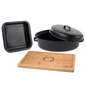 Russell Hobbs COMBO-3517 Vitreous Enamel Self-Basting Roaster and Baking Pan with Bamboo Carving Board