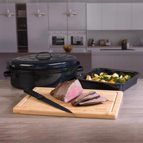 Russell Hobbs COMBO-3517 Vitreous Enamel Self-Basting Roaster and Baking Pan with Bamboo Carving Board Thumbnail 3