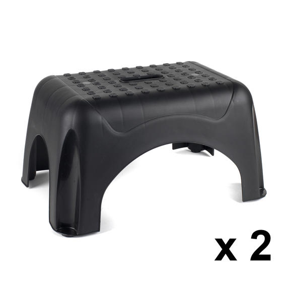 Beldray Heavy Duty DIY Step Stool, Maximum Capacity 150 KG, Set of 2, Black Thumbnail 1
