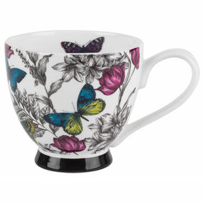 Portobello CM06357 Butterfly Flora Bone China Footed Mug