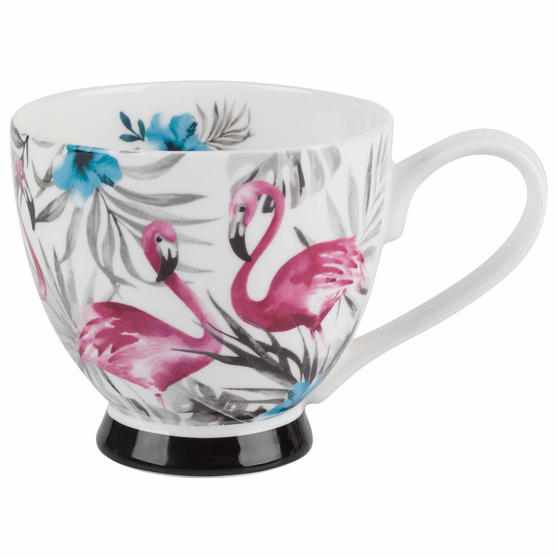 Portobello CM06359 Monochrome Flamingo Bone China Footed Mug