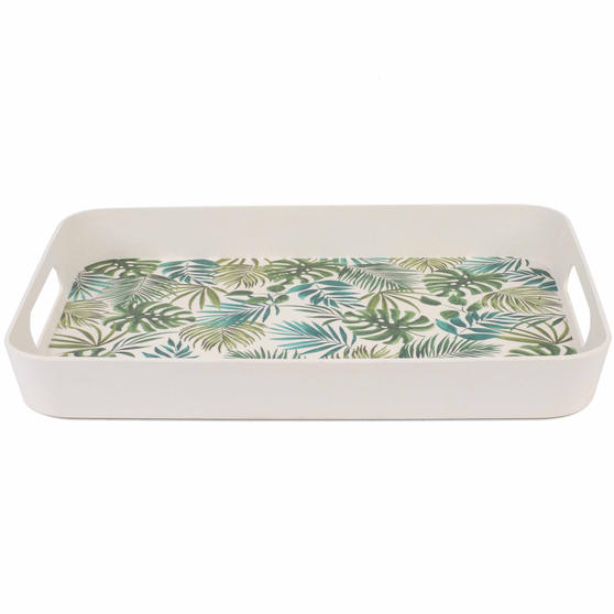 Cambridge CM06400 Polynesia Large Reusable Tray With Side Handles, 40 cm | Perfect for Serving Drinks at Parties
