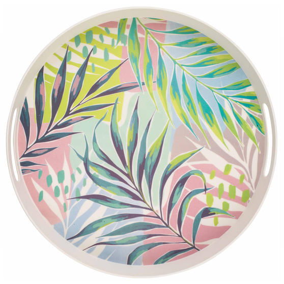 Cambridge CM06397 Kayan Large Round Reusable Tray with Handles, 38 cm | Perfect for Serving Drinks at Parties