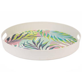 Cambridge CM06397 Kayan Large Round Reusable Tray with Handles, 38 cm | Perfect for Serving Drinks at Parties Thumbnail 2