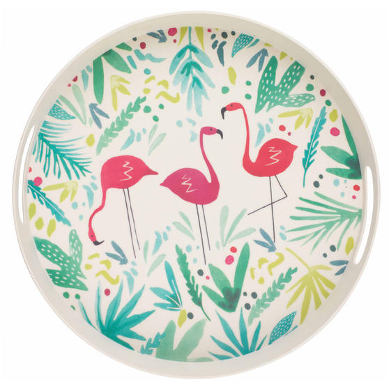 Cambridge CM06398 Flamingo Large Round Bamboo Serving Drink/Food Tray with Handles, 38 cm