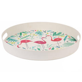 Cambridge CM06398 Flamingo Large Round Bamboo Serving Drink/Food Tray with Handles, 38 cm Thumbnail 2
