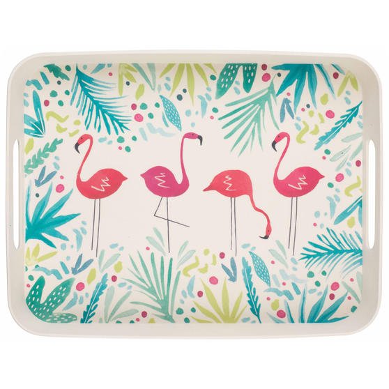 Cambridge CM06402 Flamingo Large Rectangular Bamboo Tray With Side Handles, 40 cm