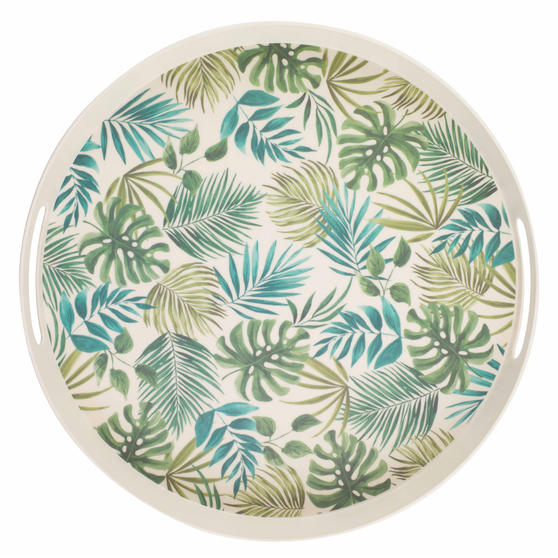 Cambridge CM06074 Polynesia Large Round Reusable Tray with Handles, 38 cm   Perfect for Serving Drinks At Parties