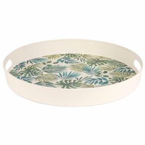 Cambridge CM06074 Polynesia Large Round Reusable Tray with Handles, 38 cm   Perfect for Serving Drinks At Parties Thumbnail 2